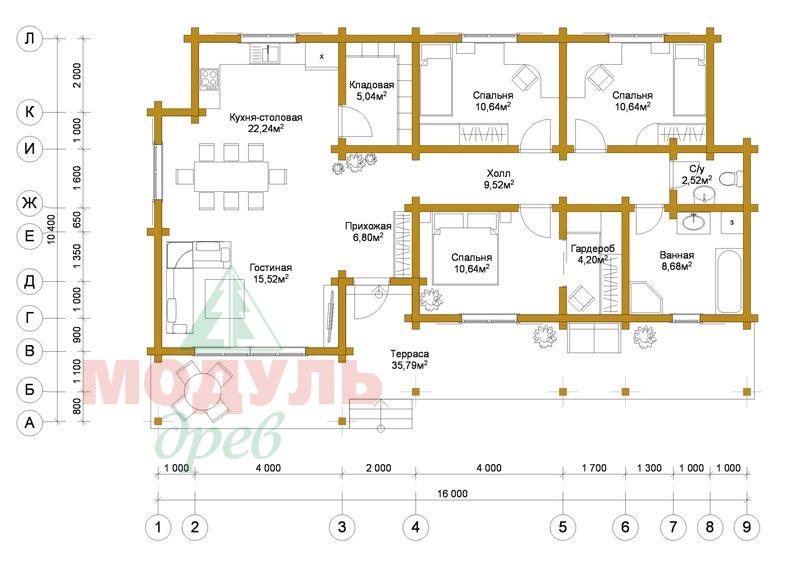 Дом из бруса «Феодосия» - планировка