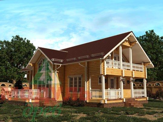 Двухэтажный проект дома из бруса «Галич»