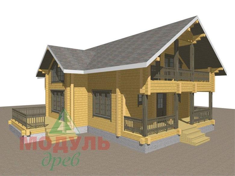 Двухэтажный проект дома из бруса «Галич» - макет 1