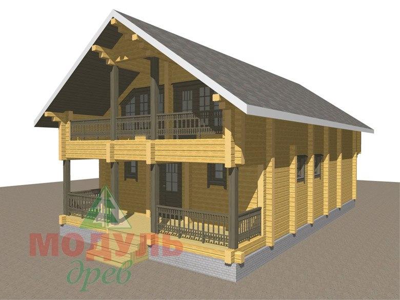 Двухэтажный дом из бруса «Галич» - макет 3
