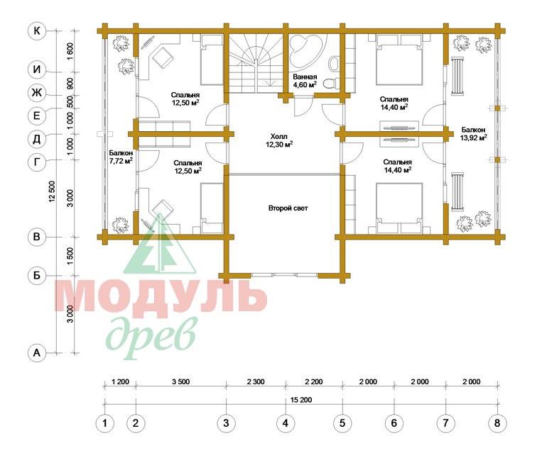 Двухэтажный проект дома из бруса «Галич» - планировка 1