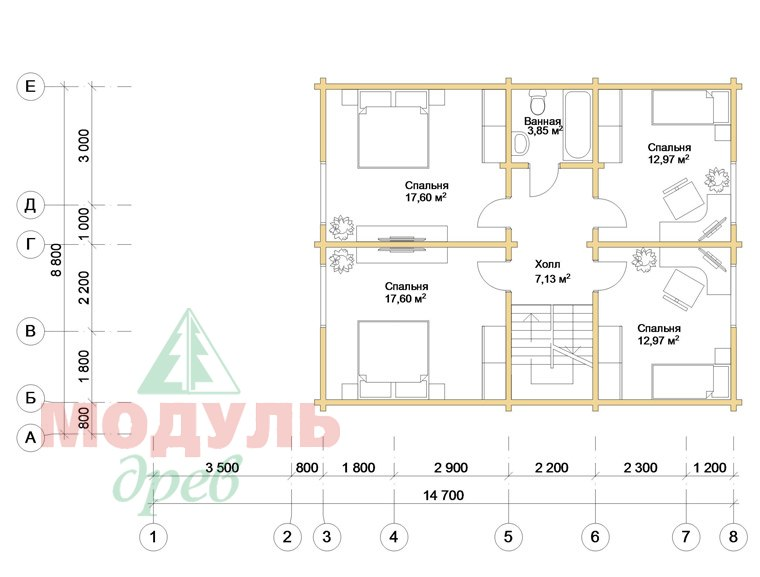 Дом из бруса «Глория» - планировка 2