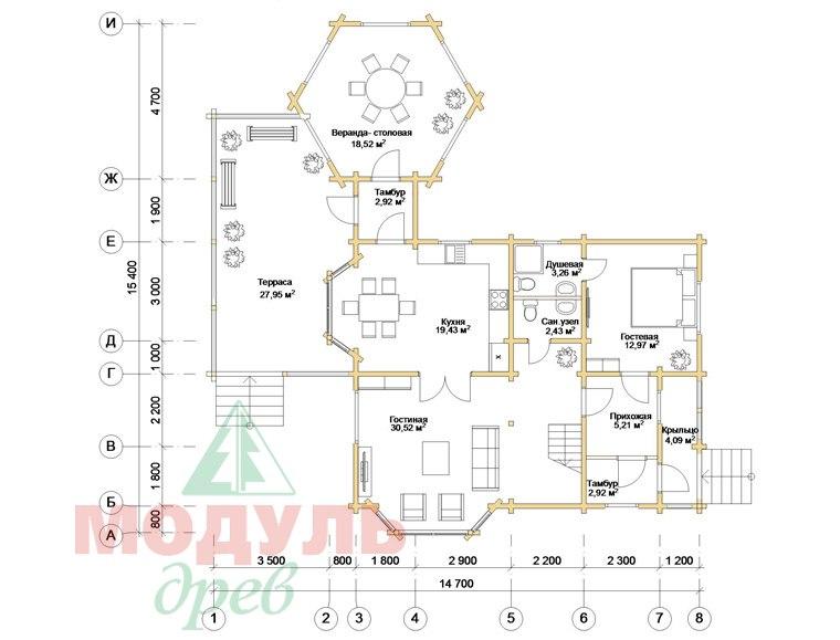 Дом из бруса «Глория» - планировка 1