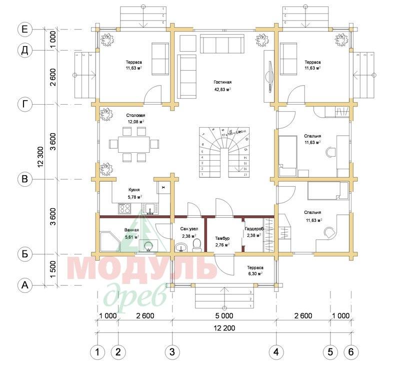 Дом из бруса «Голубино» - планировка 1