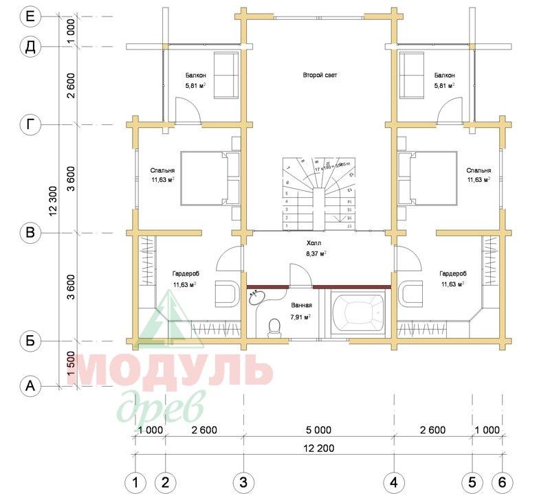 Дом из бруса «Голубино» - планировка 2