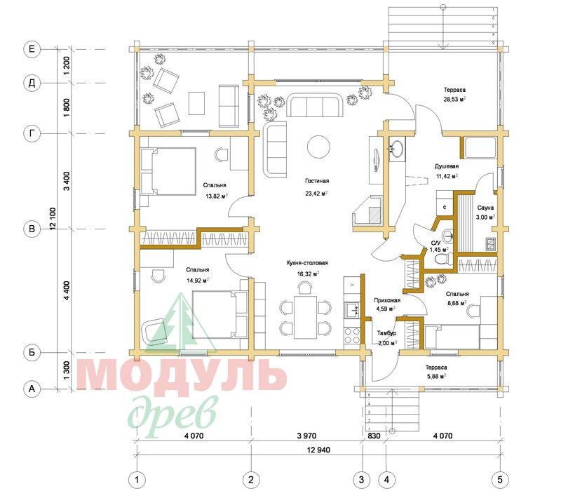 Проект дома из бруса «Илес» - Планировка