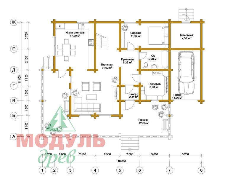 Дом из бруса «Ижевск» - планировка 1
