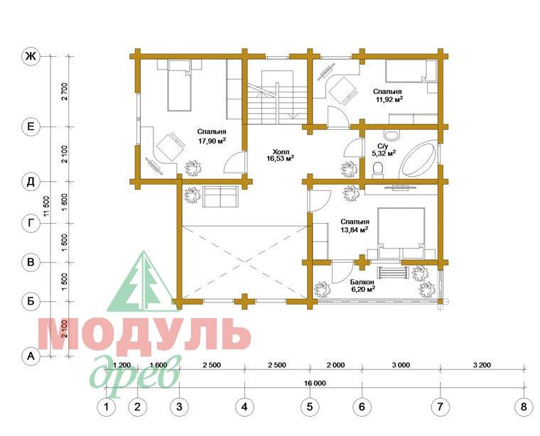 Дом из бруса «Ижевск» - планировка 2