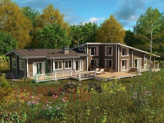 Проект дома из бруса «Канск» с бассейном и гаражом