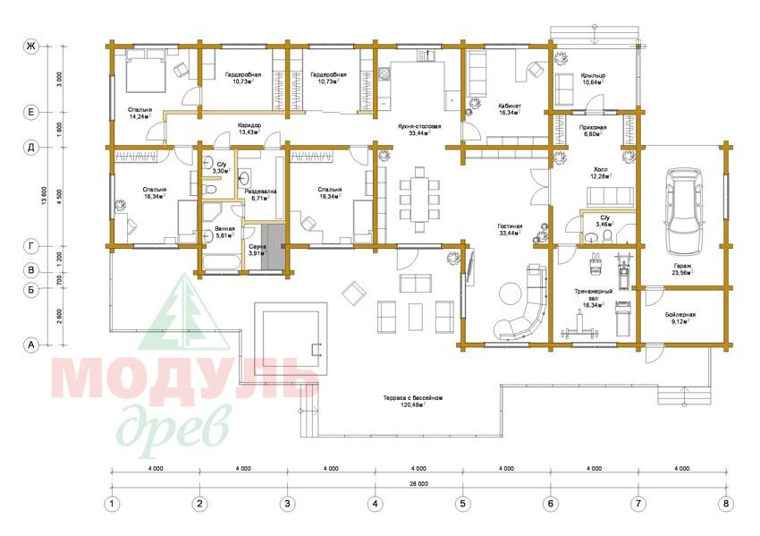 Проект одноэтажного дома из бруса «Канск» - планировка