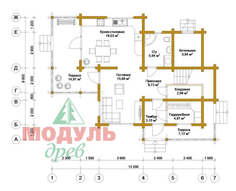 Дом из бруса «Киров» - планировка 1