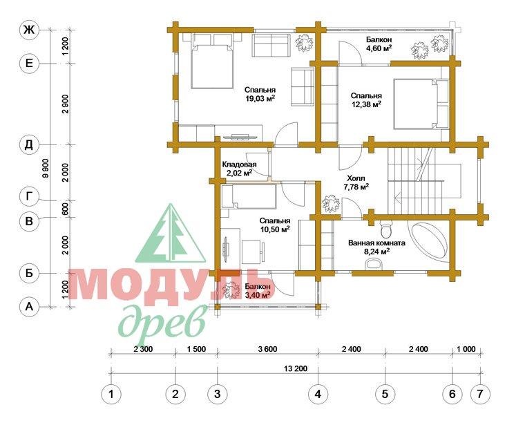 Проект дома из бруса «Киров» - планировка 2