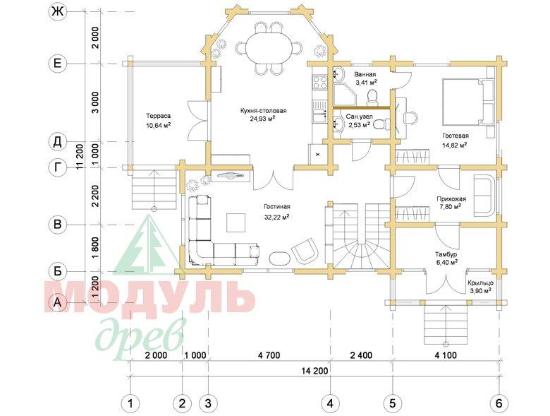 Дом из бруса «Климово» - планировка 1