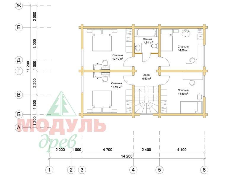 Дом из бруса «Климово» - планировка 2