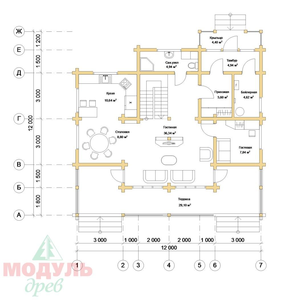 Дом из бруса «Косково» - планировка 1