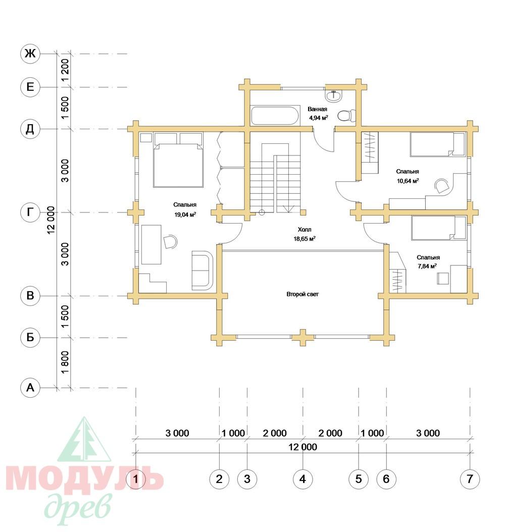 Дом из бруса «Косково» - планировка 2