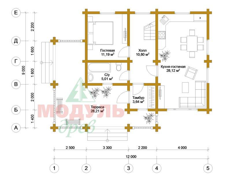 Дома из бруса «Ковров» - планировка 1