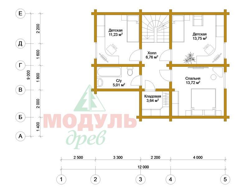 Брусовой дом «Ковров» - планировка 2