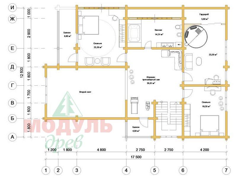 Дом из бруса «Кулой» - планировка 2