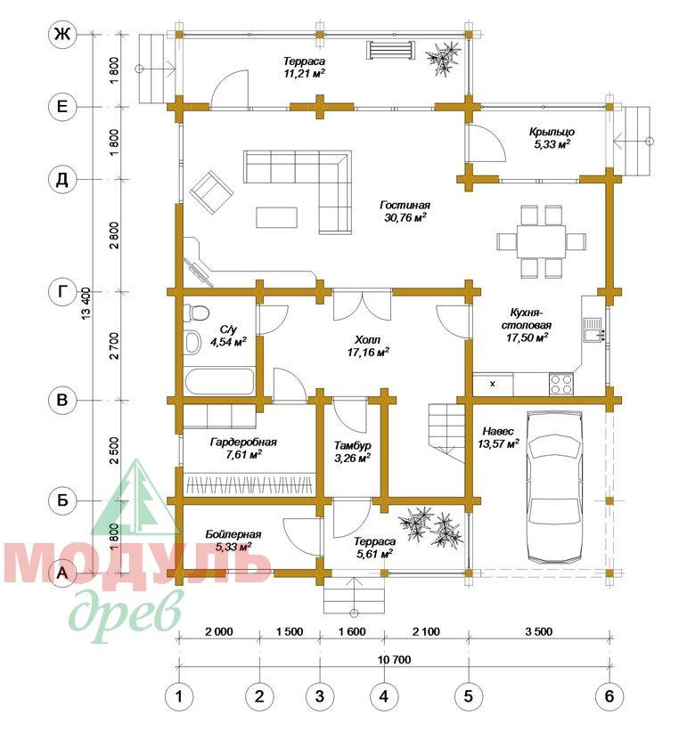 Проект дома из бруса «Кунгур» - планировка 1