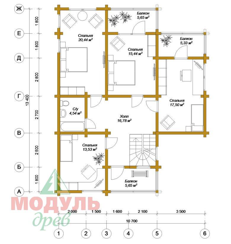 Проект дома из бруса «Кунгур» - планировка 2