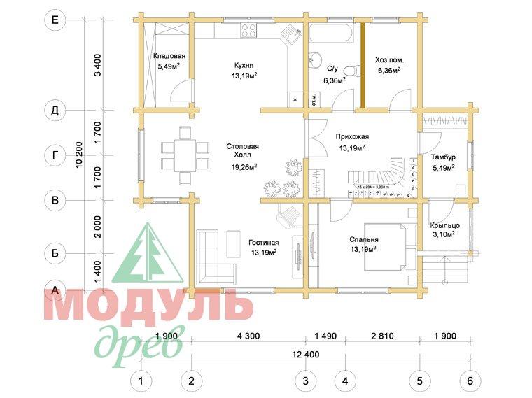 Дом из бруса «Курган» - планировка 1