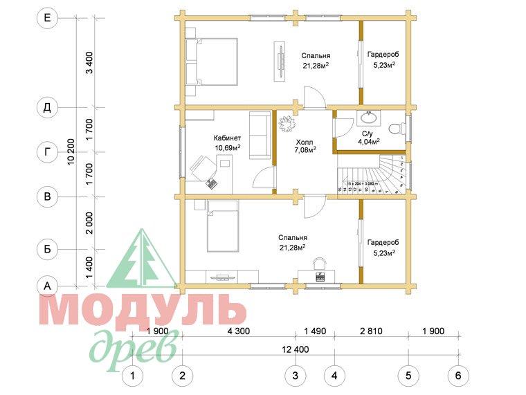 Проект дома из бруса «Курган» - планировка 2