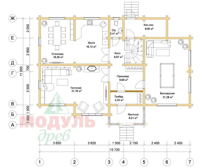 Проект деревянного дома из бруса «Ладино» - планировка 1