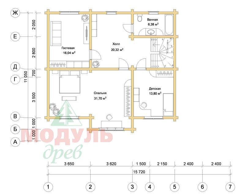 Деревянный дом из бруса «Ладино» - планировка 2