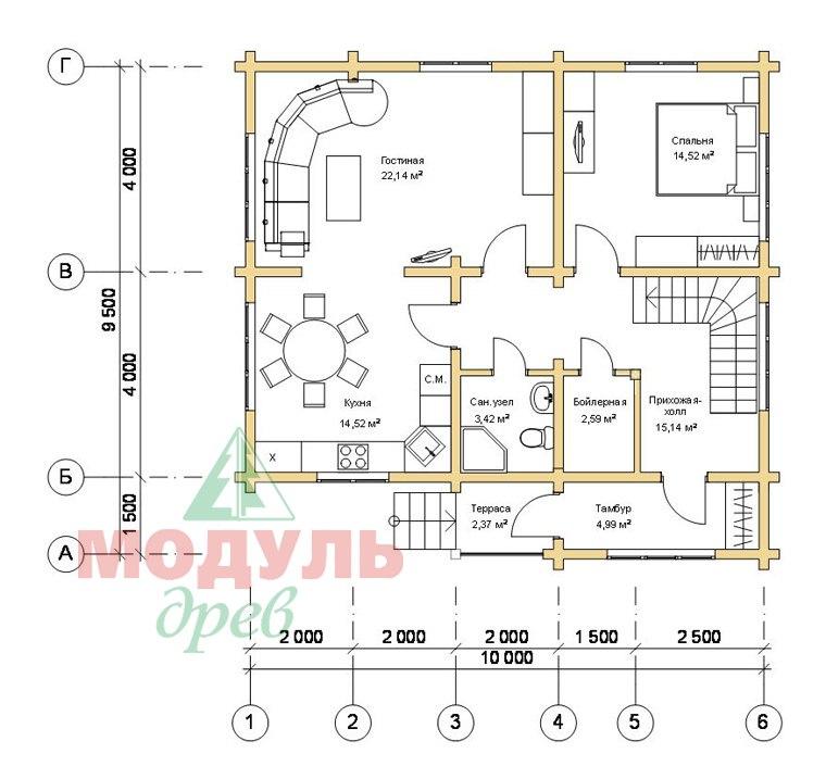 Дом из бруса «Ладога» - планировка 1