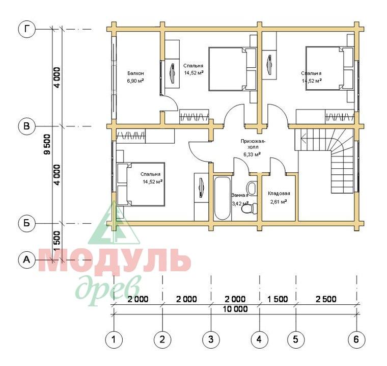 Проект дома из бруса «Ладога» - планировка 2