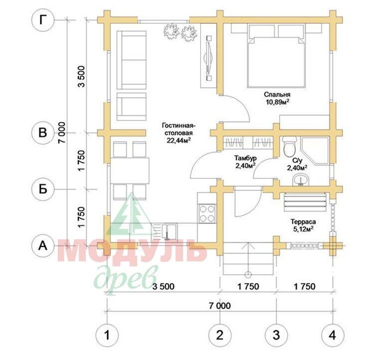 Планировка дома из бруса «Лето»