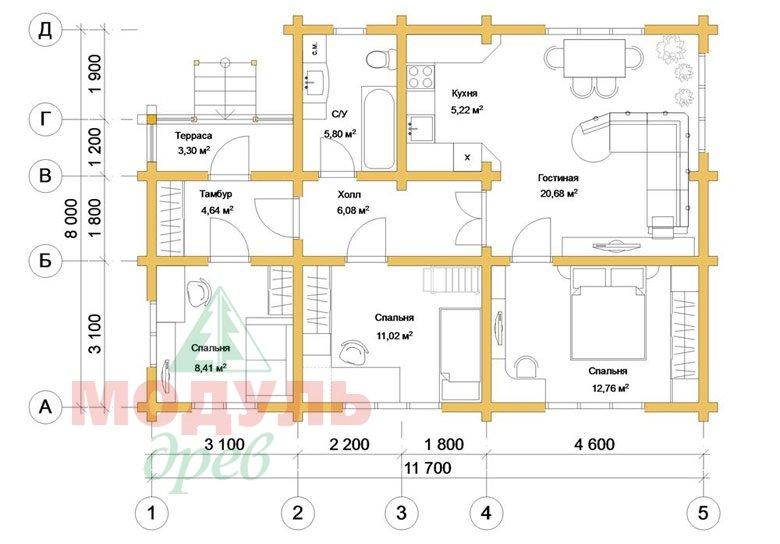 Планировка дома из бруса «Лион»