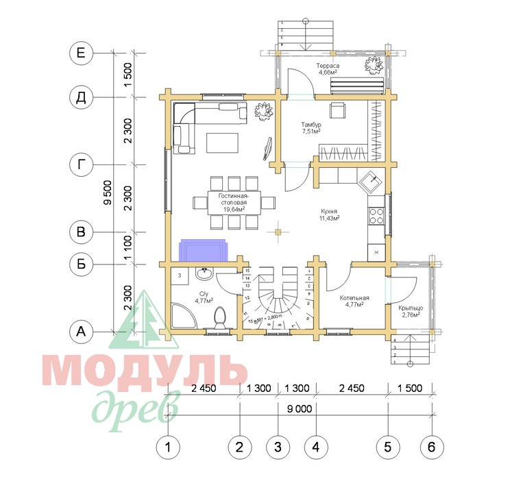 Дом из бруса «Луговой» - Планировка 1