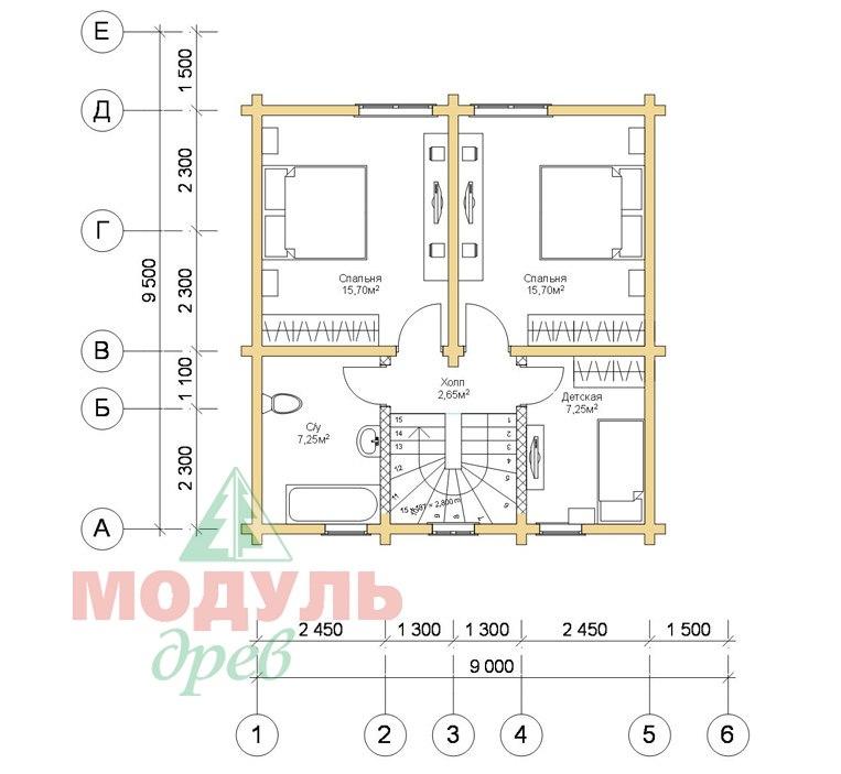 Дом из бруса «Луговой» - Планировка 2