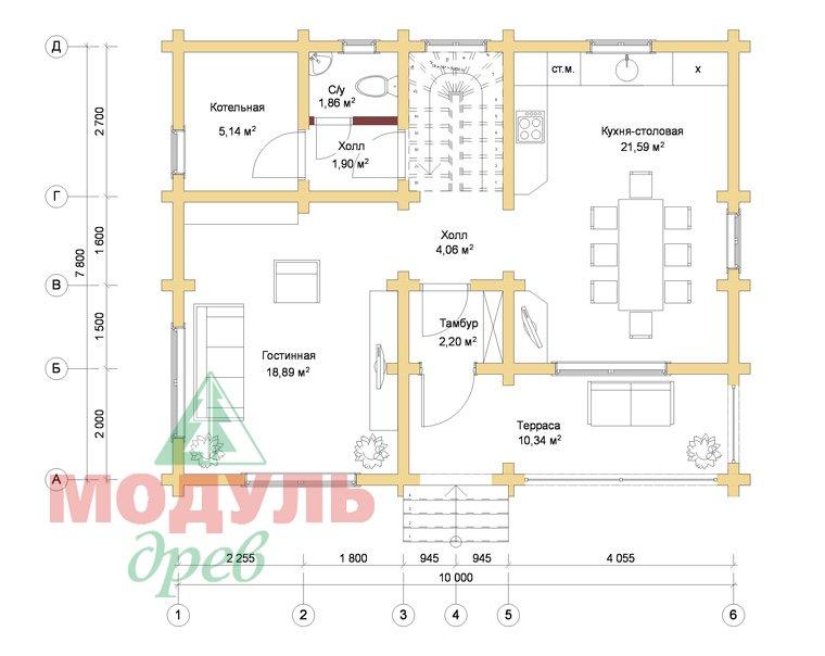 Дом из бруса «Львов» - Планировка 1