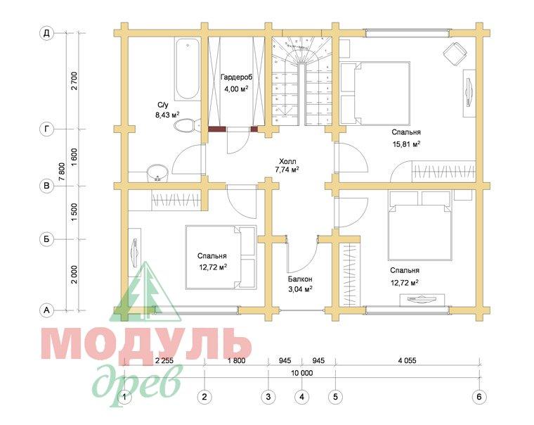 Проект дома из бруса «Львов» - Планировка 2