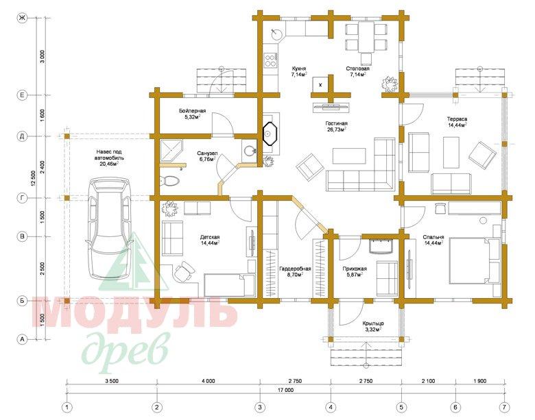 Проект дома из бруса «Мечта-1» - Планировка