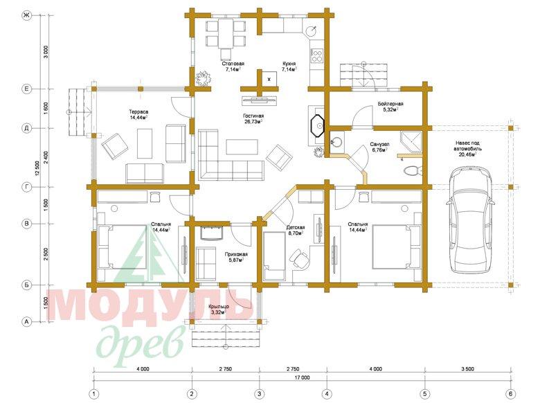 Дом из бруса «Мечта-2» - планировка