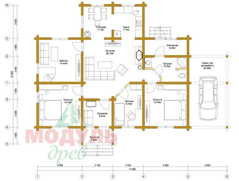 Брусовой дом «Мечта-3» - планировка