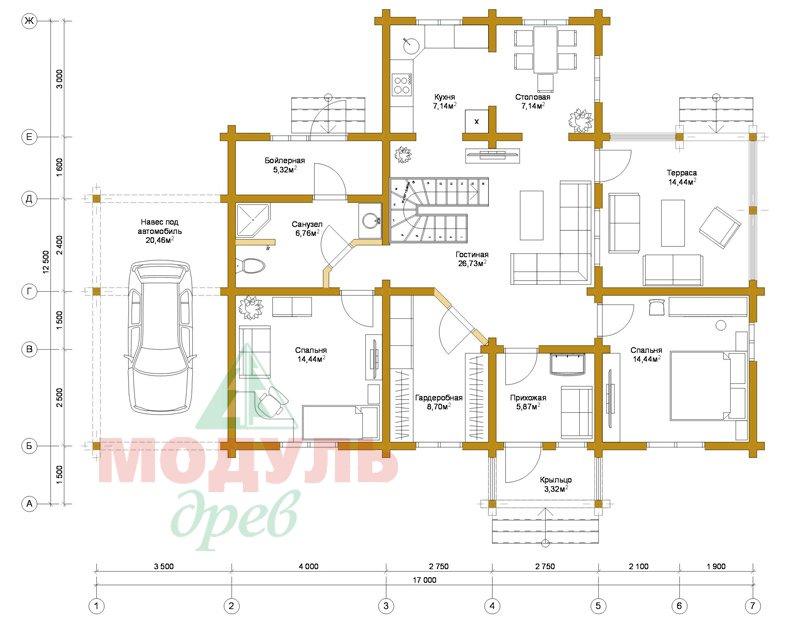 Проект дома из бруса «Мечта-4» - планировка