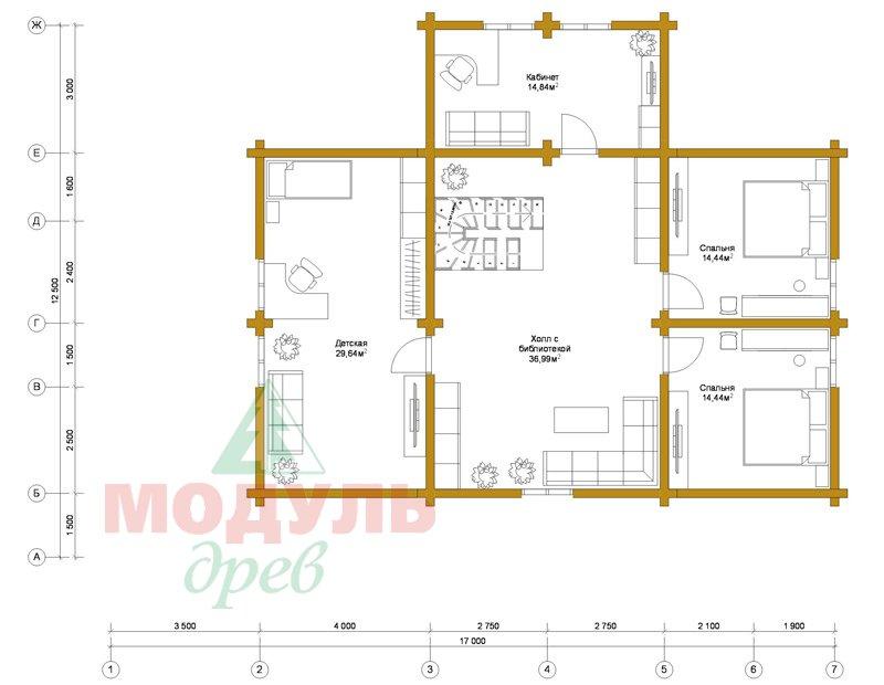 Проект дома из бруса «Мечта-4» - планировка 2