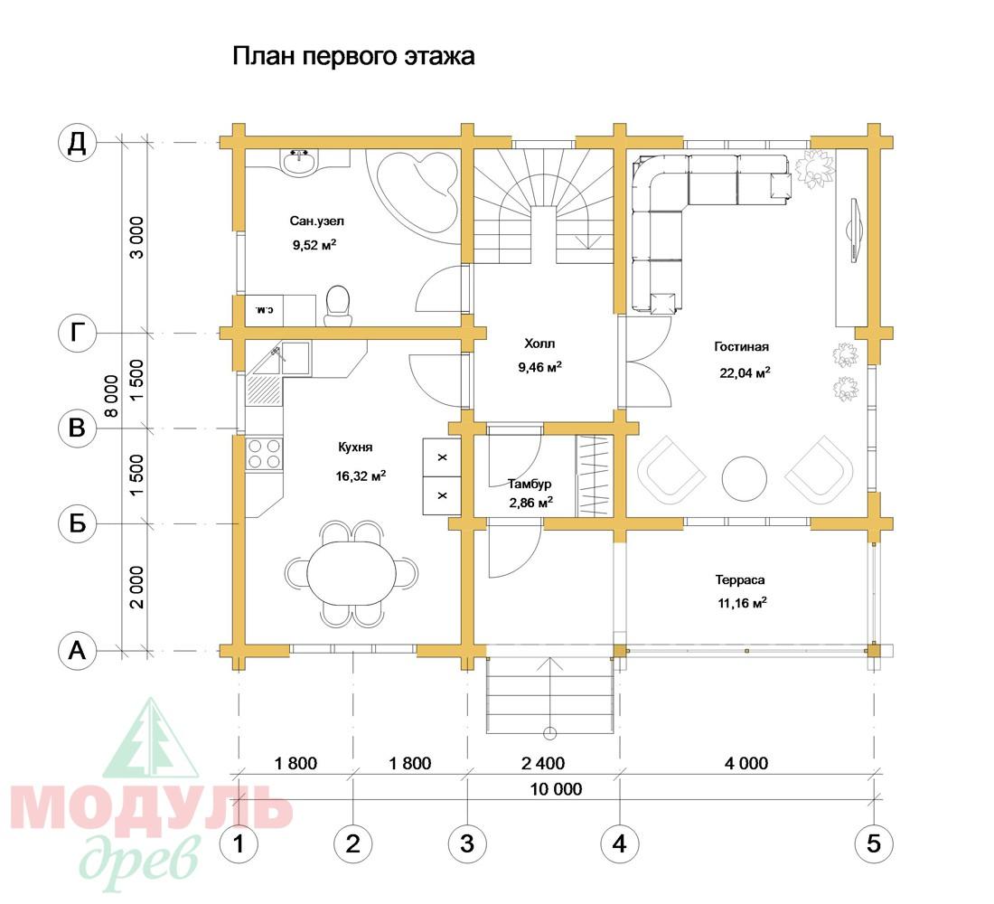Дом из бруса «Мирабель» - Планировка 1