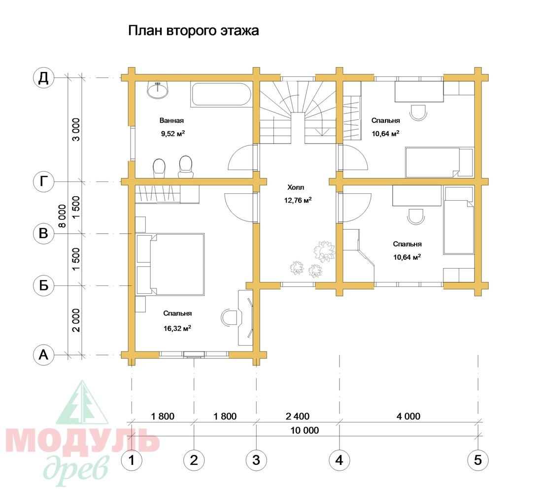 Проект дома из бруса «Мирабель» - Планировка 2