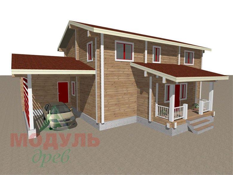 Проект дома из бруса «Мирный» - макет 1