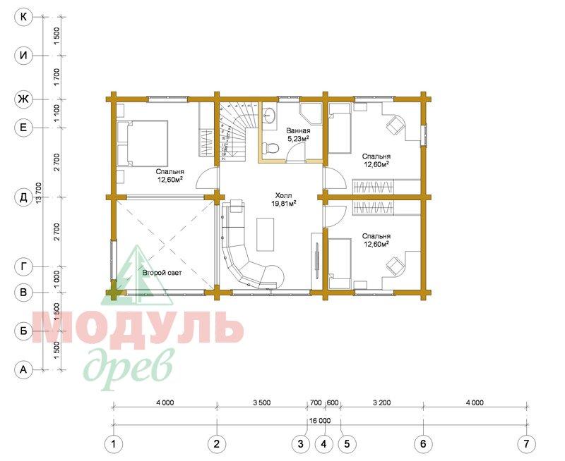 Проект дома из бруса «Мирный» - планировка 2