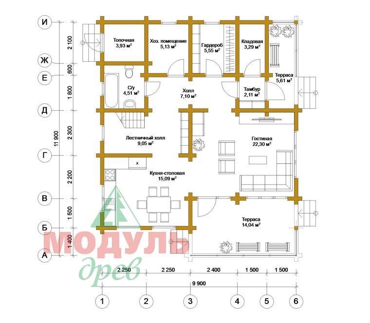Двухэтажный дом из бруса «Муром» - планировка 1