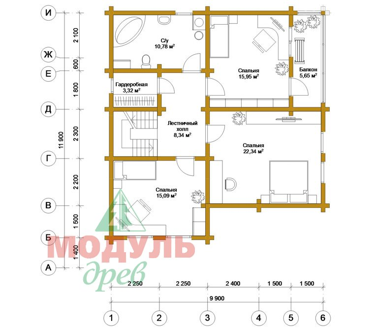 Двухэтажный дом из бруса «Муром» - планировка 2