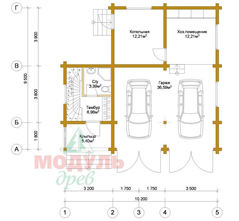 Планировка 1 дома из бруса «Неман»