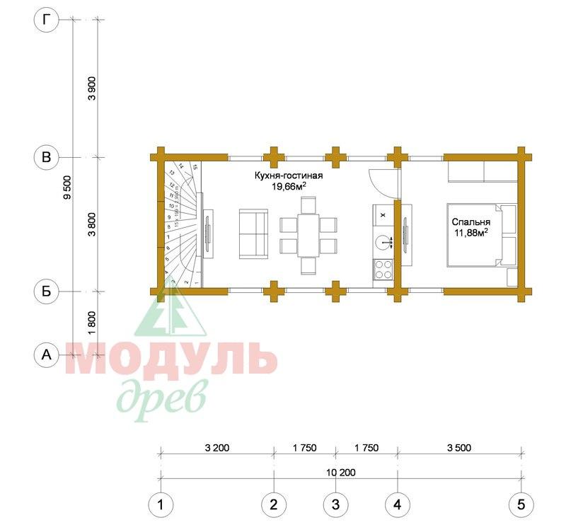 Планировка 2 дома из бруса «Неман»